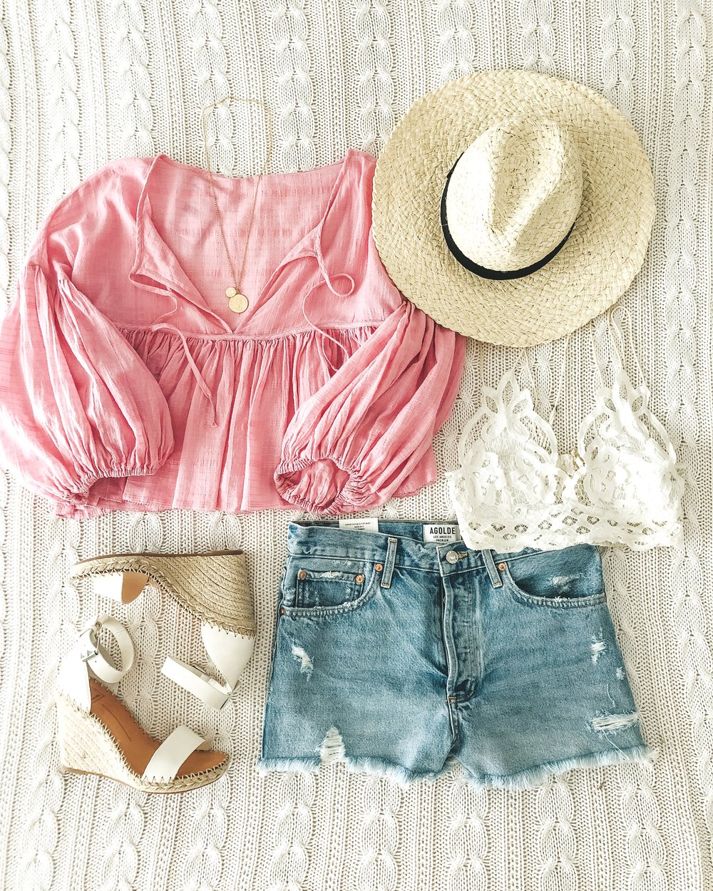 free people beaumont mews top, agolde parker jean shorts. cute summer outfit.  dolce vita noor sandals.