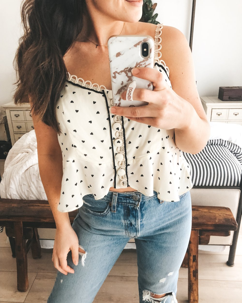 free people true to the heart tank with levi's premium wedgie straight.