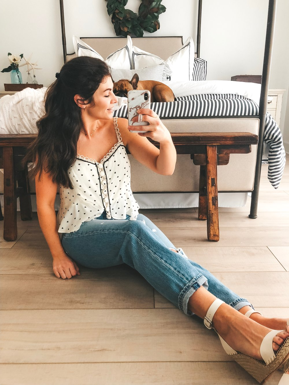 free people true to the heart tank with levi's premium wedgie straight, dolce vita noor sandals.