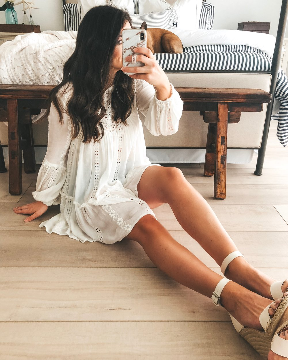 free people kiss kiss tunic, agolde parker jean shorts, and dolce vita noor wedge sandals.