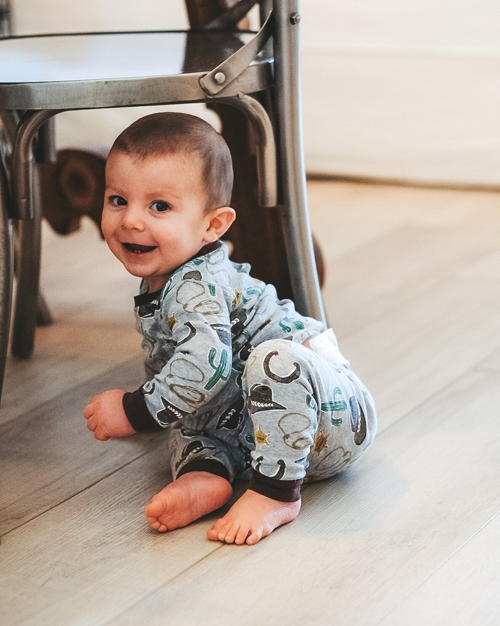 Jett Jones 10 month update.  Cowboy pajamas.