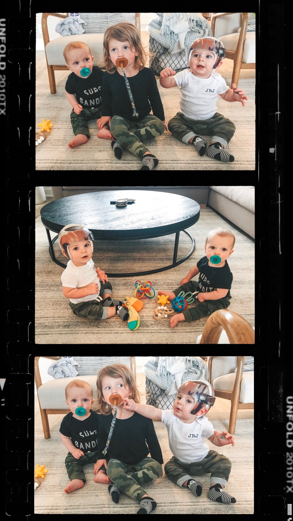 Jett Jones 10 month update.  Cousins in camo.