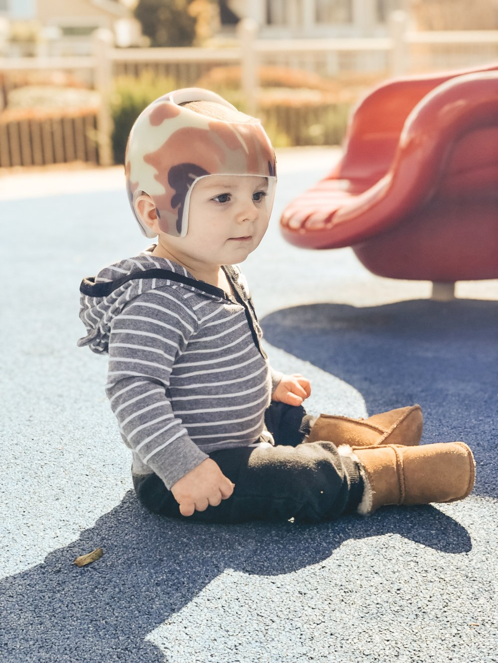 Jett Jones 10 month update.  Camo STARband helmet to cure Plagiocephaly.  Baby ugg boots.