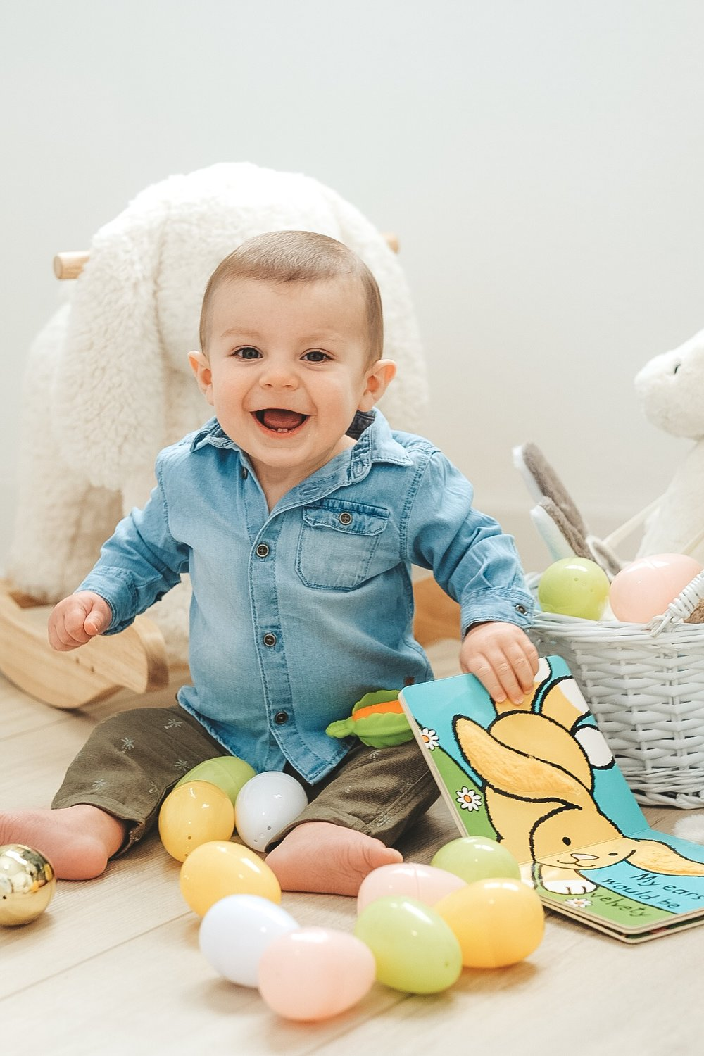 Easter basket ideas for children under 1.  Baby Easter basket ideas. Little boy Easter outfit idea.