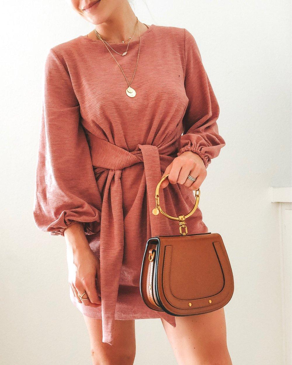 Amazon fashion finds.  Affordable fashion on Amazon.  Blush pink tie waist dress.  Chloe bracelet bag dupe.