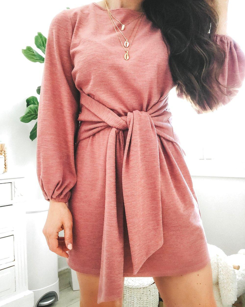 Amazon fashion finds.  Affordable fashion on Amazon.  Blush pink tie waist dress.