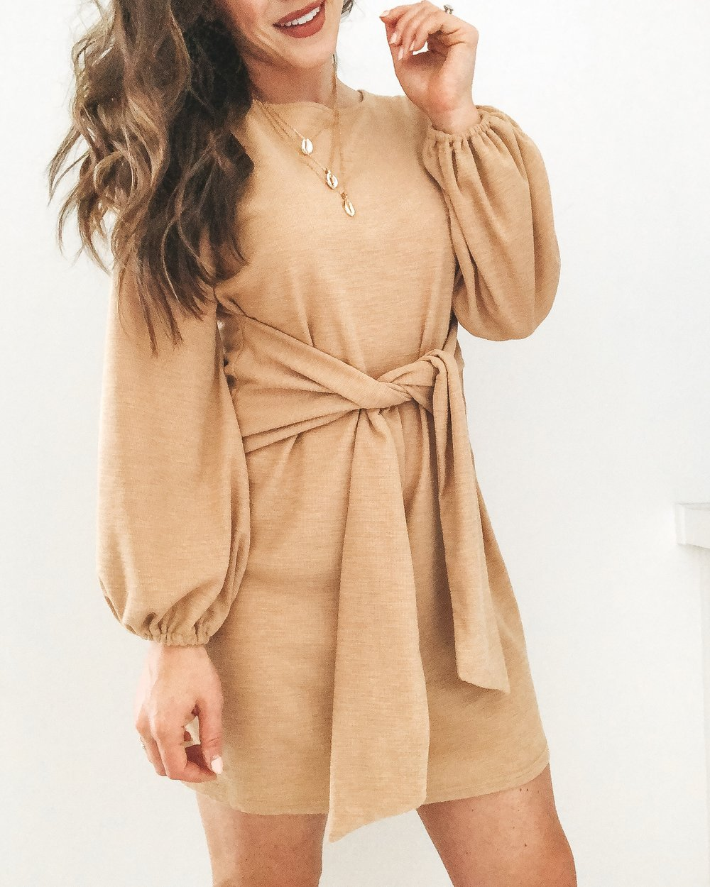 Amazon fashion finds.  Affordable fashion on Amazon.  Tan tie waist dress.  Cute shell necklace.