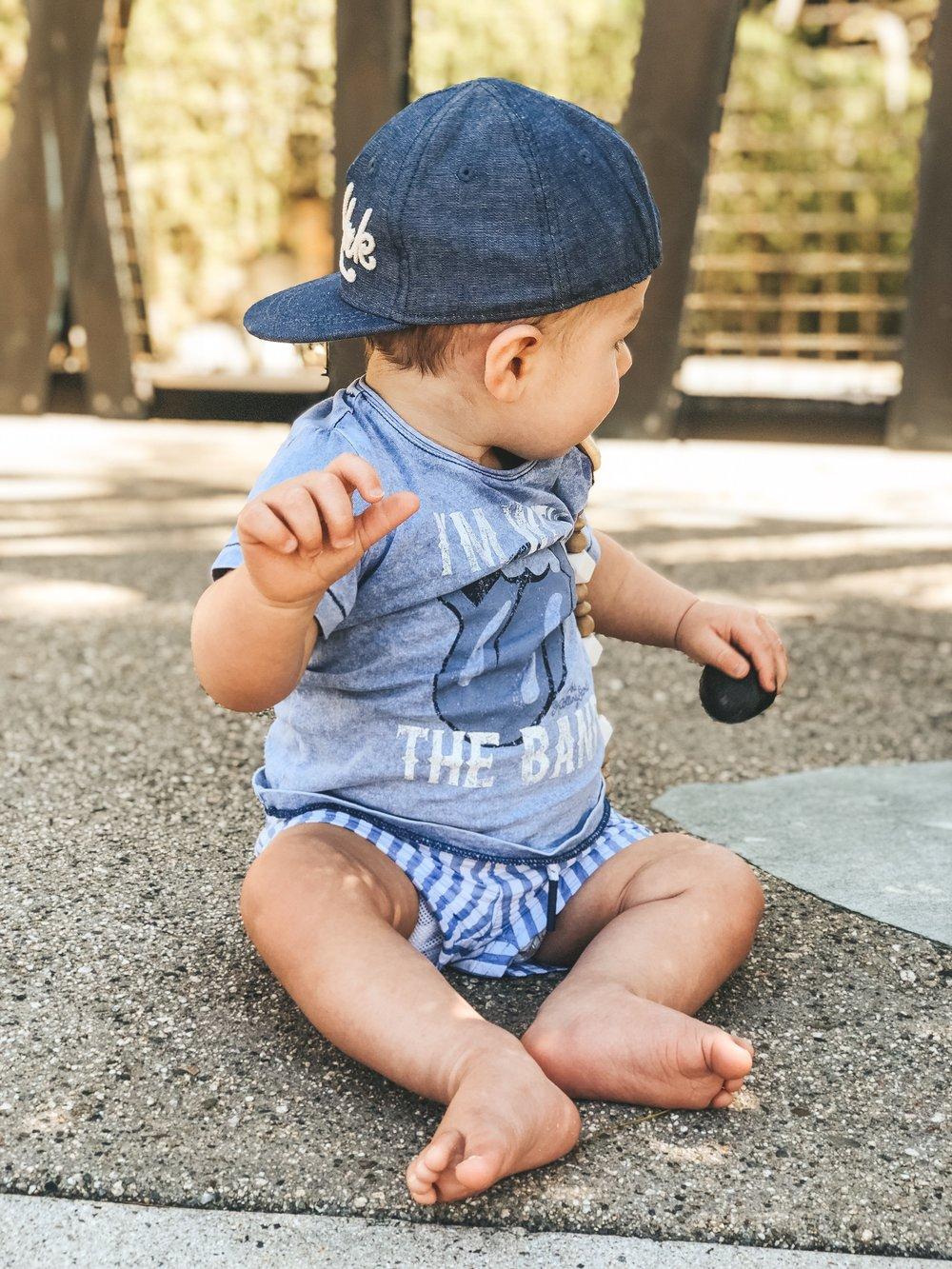 Jett Jones 11 Month Milestones.  Baby boy beach outfit.  Cute baby boy style.