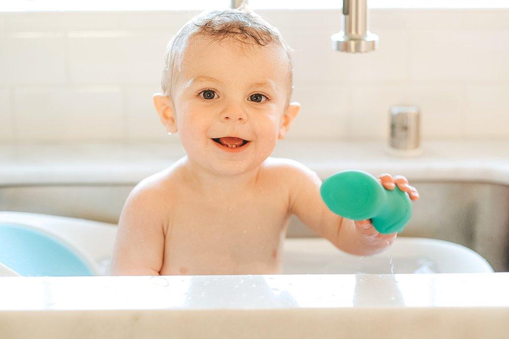 Jett Jones 11 Month Milestones.  Boon Soak Bathtub.