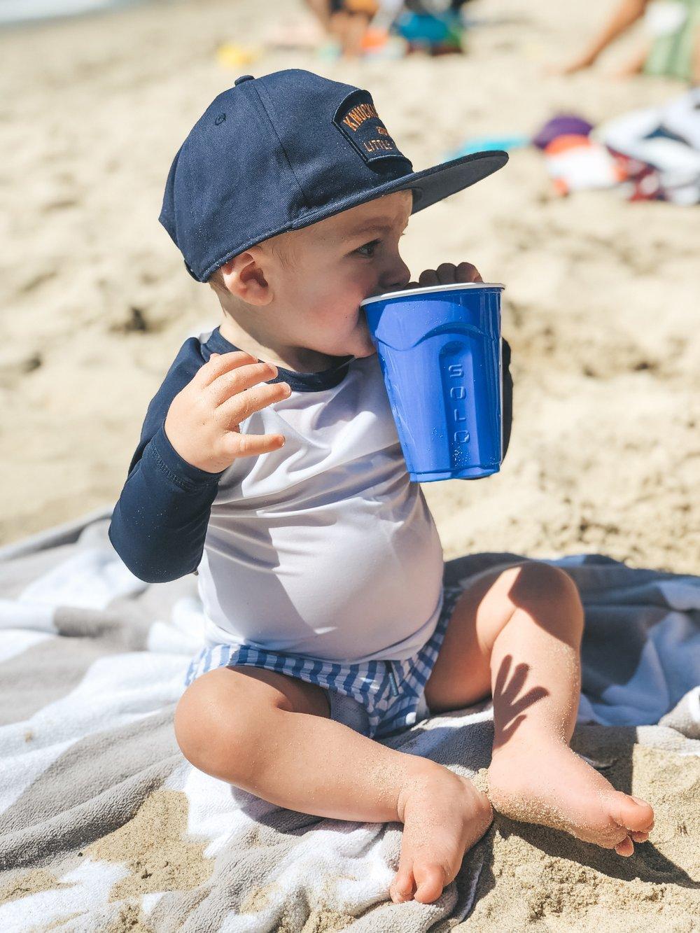 Jett Jones 11 Month Milestones.  Cute baby boy clothes.  Baby boy beach outfit.