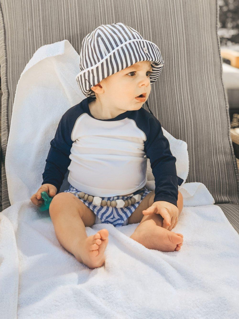 Jett Jones 11 Month Milestones.  UPF 50 Shirt for baby boy.  Baby boy summer style. The Beaufort Bonnet Company Hat.