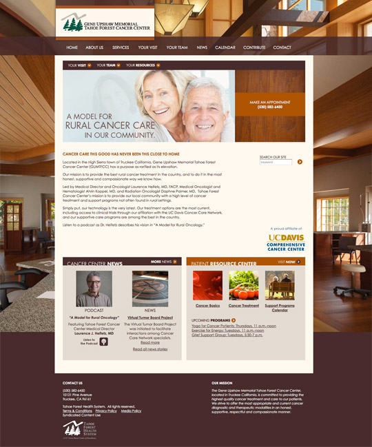 Gene Upshaw Memorial Tahoe Forest Cancer Center Launches New Website