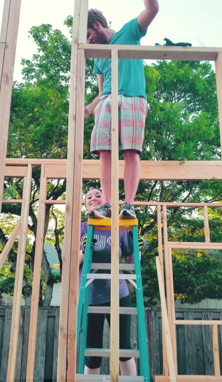 Holding the ladder for Nick, because safety first...lol