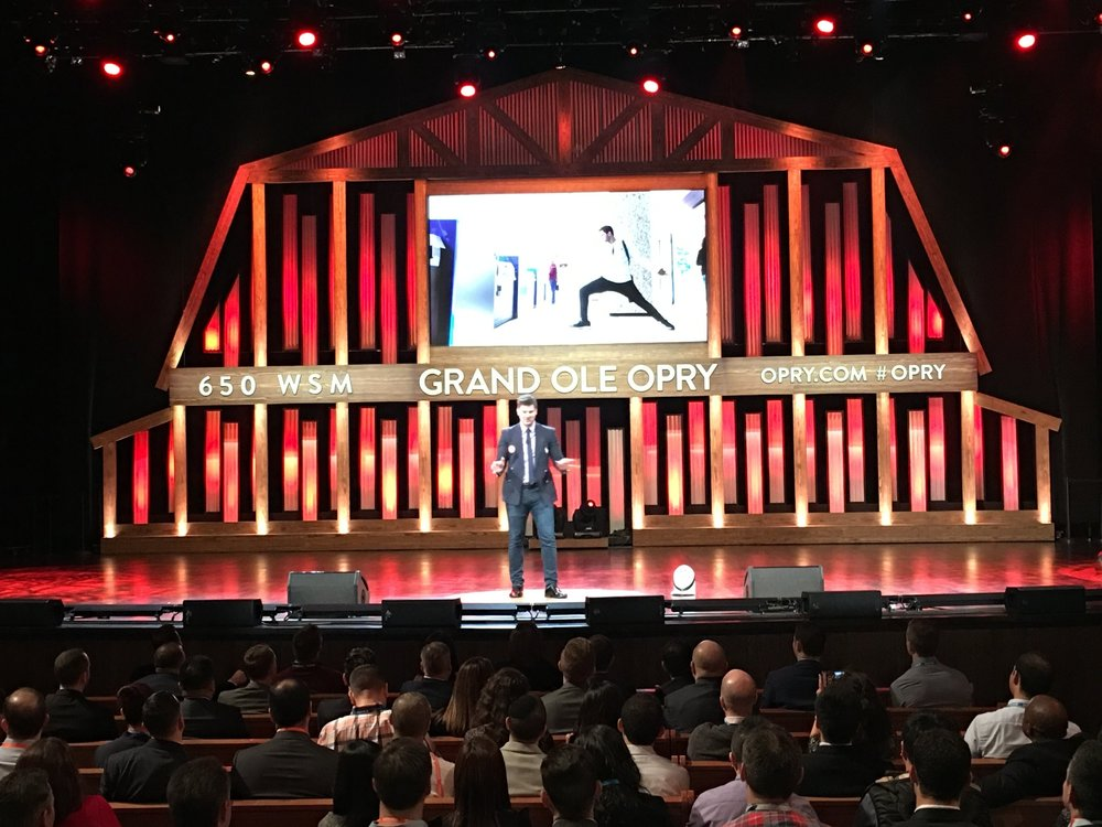 Speaking on stage at the Grand Old Opry to Chase's Top-100 Sales Staff Members at their high-achievers Conference in Nashville, Tennessee.