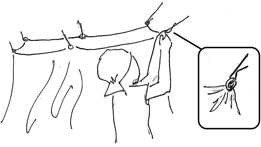 First hang the net.