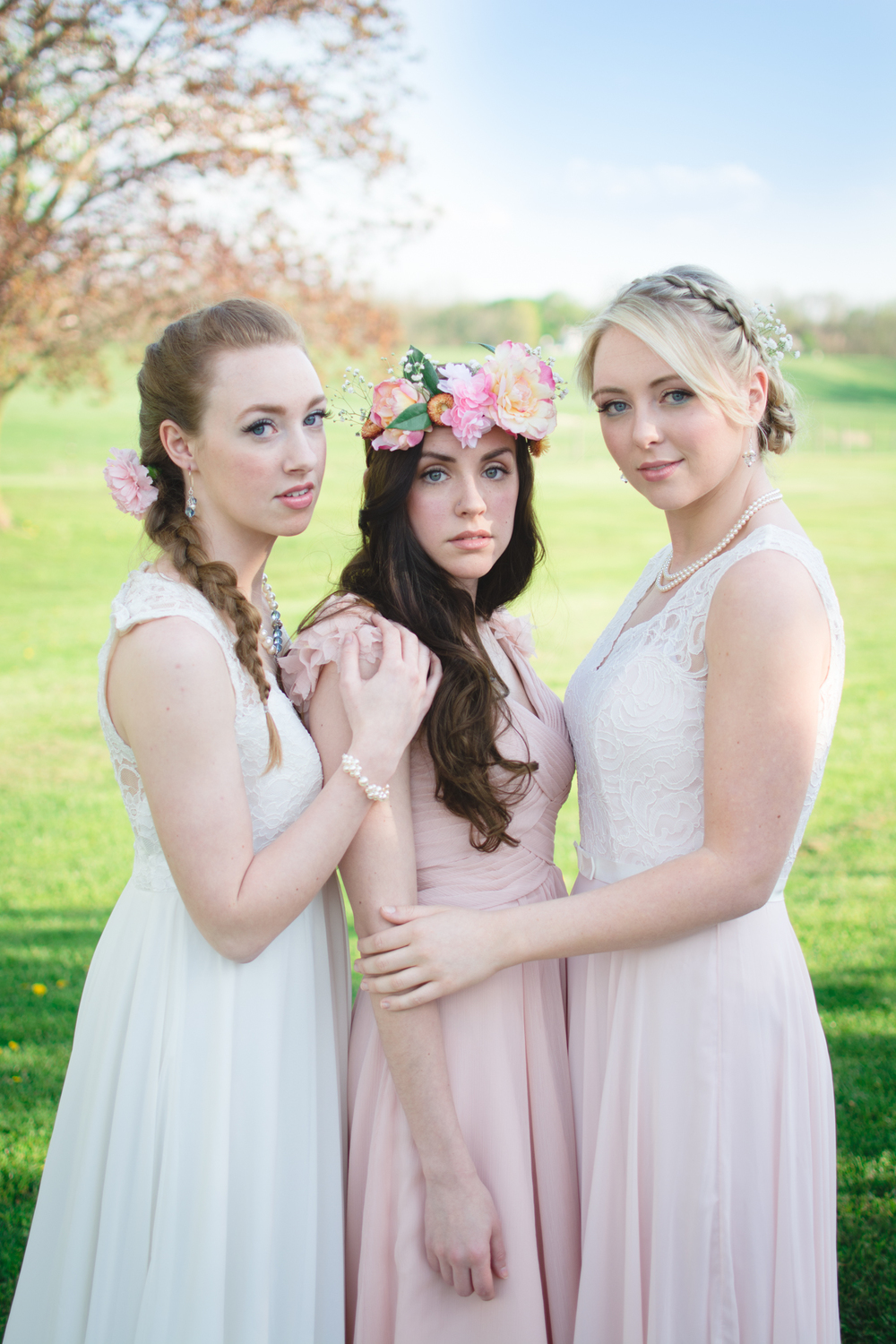 Makeup: Anna Sky Beauty Hair: Christine Mitchell  Jewelry: Marnie Artisan Jewelry  Dresses: Stephanie's Bridal Location: Meadow Breeze Farm  Bouquet + Floral Crown: Julie Floro (of Julie Floro Photography) Models: Jenna Paff, Emily DiGrazio, Olivia Carney