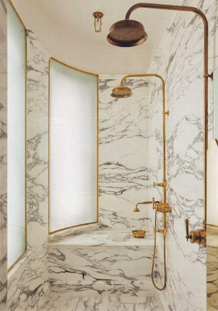 Marble & Brass Bath | World of Interiors