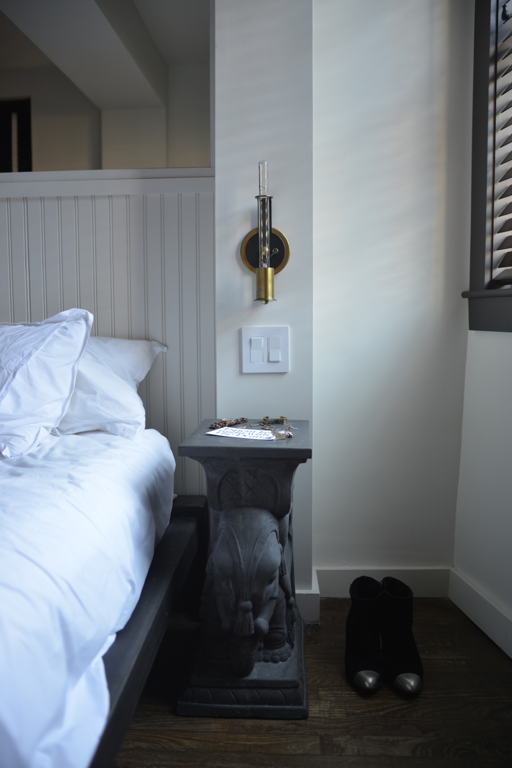 The Bedside Tables are Custom Designed Elephant Stands - Photograph by Lauren L Caron | The Dean Hotel