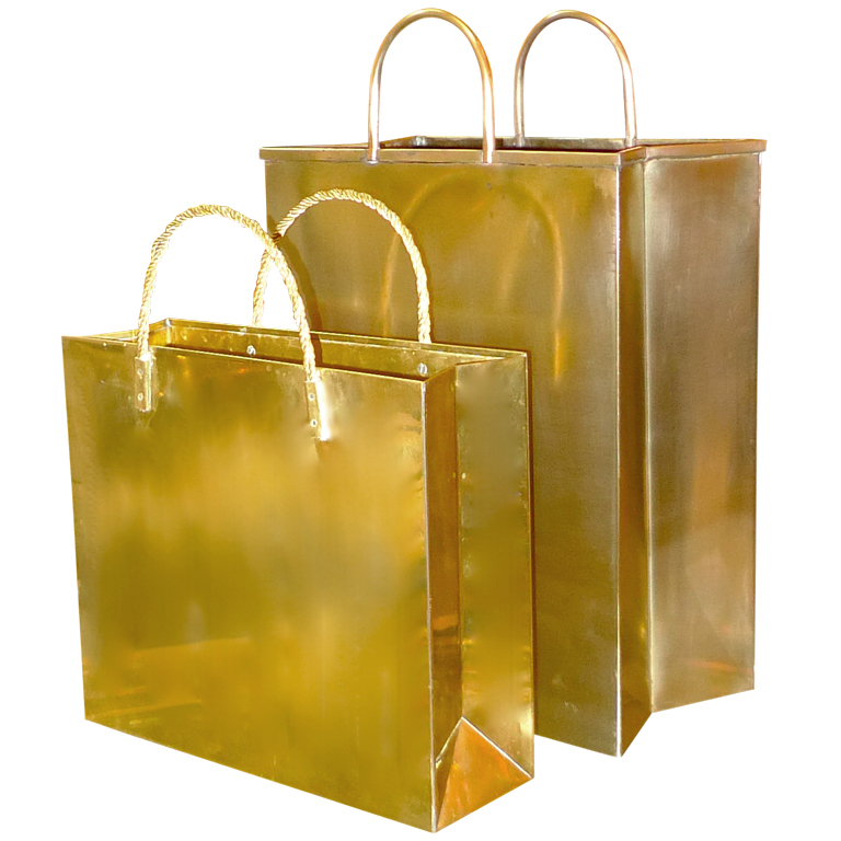 Vintage Italian Brass Shopping Bag Magazine Holders