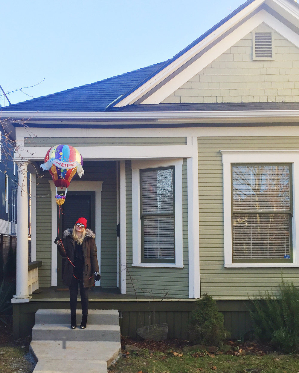 On our front stoop with the balloon Jack gave me for my birthday