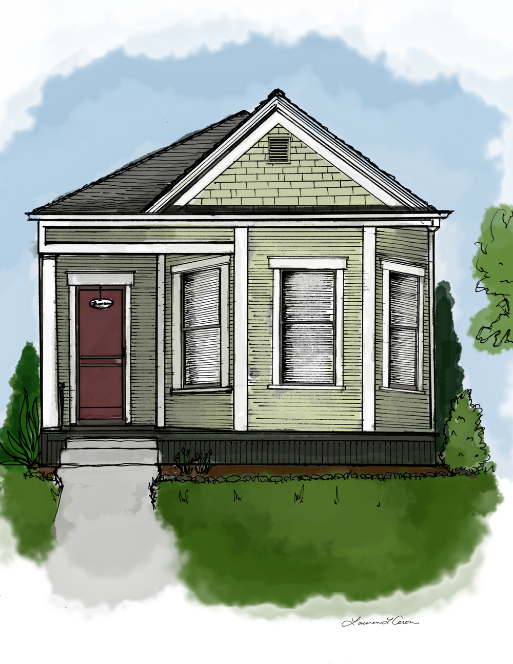 A sketch of our little house that