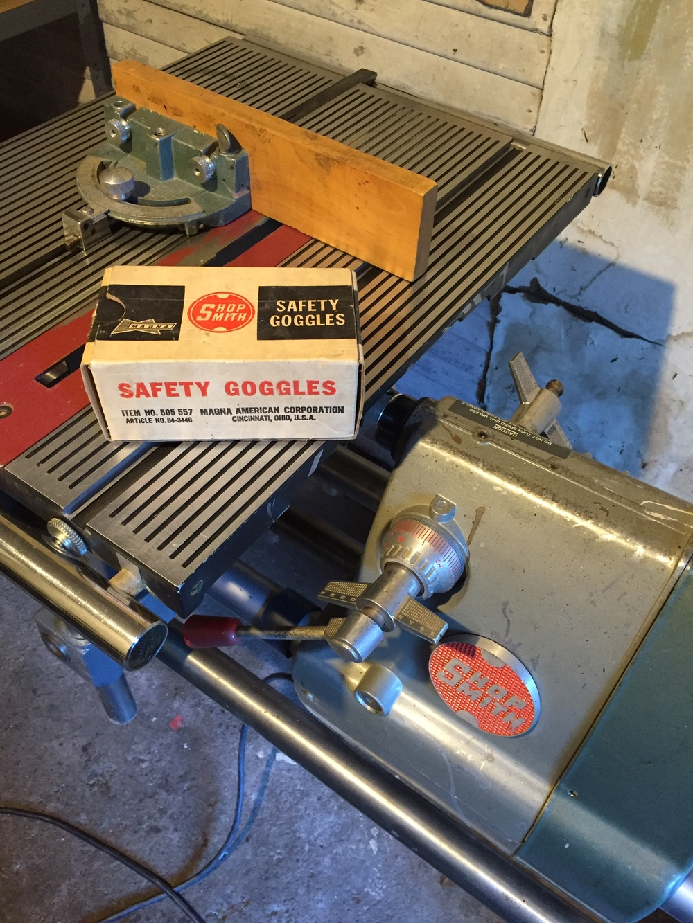 The Shop Smith Saw with the original safety goggles.