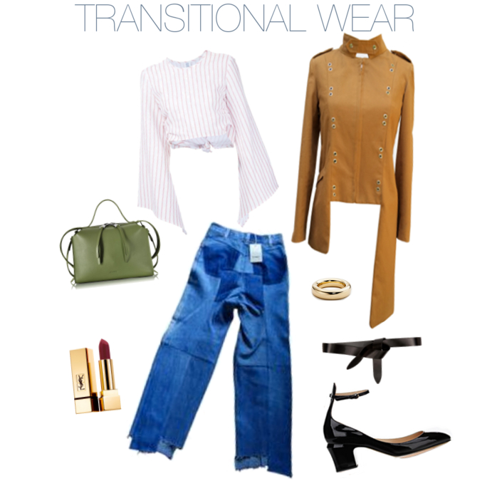 ASc Asymmetrical Grommet Coat; Elsa Peretti gold bangle; Isabel Marant belt; Valentino patent pump; Vetements denim; YSL lip; Jil Sander bag; Rosie Assoulin top