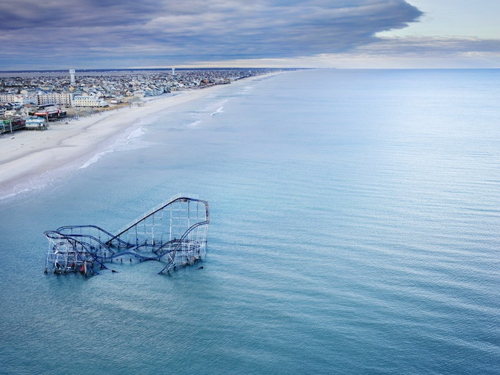 Submerged roller coaster after Hurricane Sandy. Photograph by  Stephen Wilkes