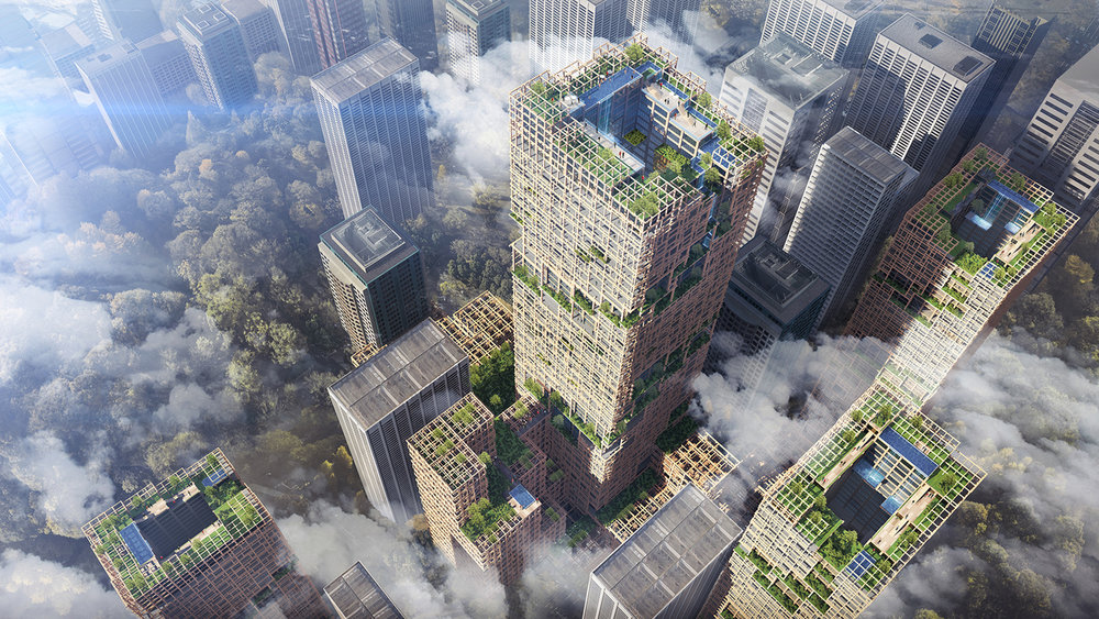 "Aimed to ""transform Tokyo into a forest,"" the structure will feature a garden roof, balconies covered with greenery, and large open spaces filled with natural light.  (Sumitomo Forestry Co.)"