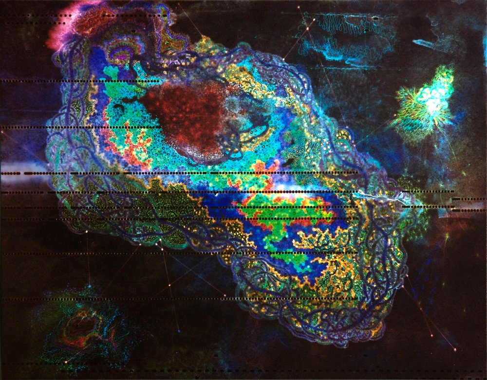 """""""Nebula of Life"""" by  Sarah Williams Hearn  Size: 11"""" x14"""" C-Print, 2008. Contact print of a drawing done on a player piano reel."""