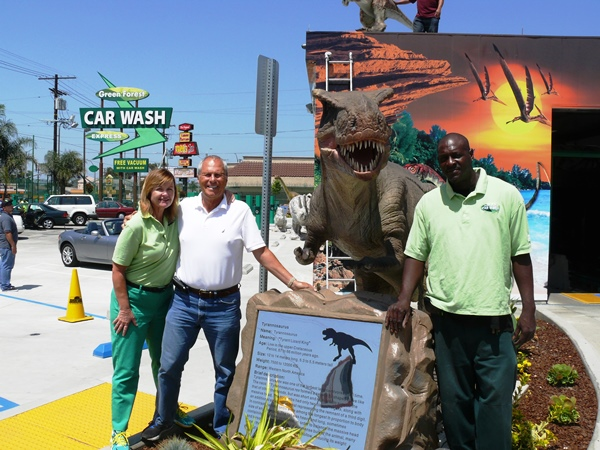 (From Left-to-Right): Green Forest Car Wash creators and owners,Thomas Ennis, Patricia Knott and customer service operator, Earl Hollinshed. Despite colleagues' concerns about the surrounding area, Ennis saw South Los Angeles as a positive and worthwhile opportunity for Green Forest Car Wash.