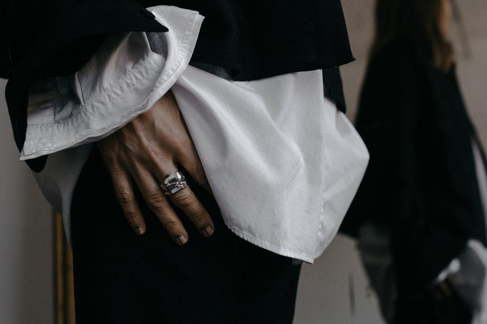 Black shirt - Dsecond  White shirt - Yohji Yamamoto  Pants - Filippa K  Jewelries - Kei Shigenaga