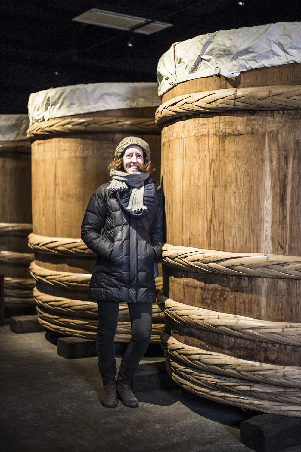 Me with a giant barrel of ageing miso, Takayama, Japan