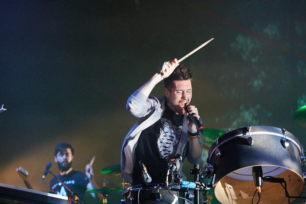 Bastille headline the main stage on the final day of Boardmasters music festival, Watergate Bay, Cornwall 2015