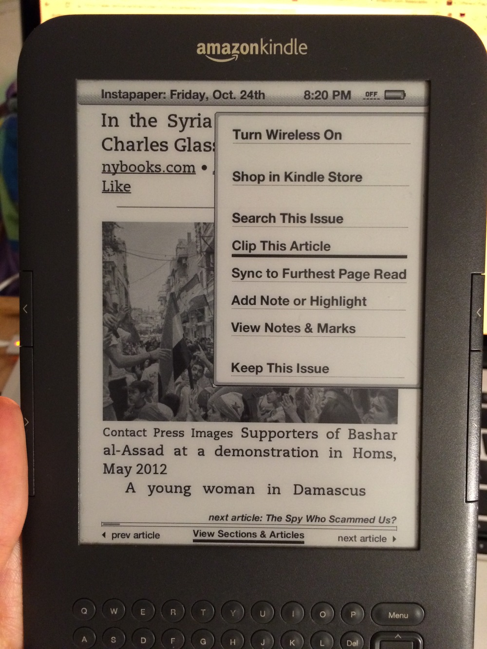 "This is what you see in an article when you click to ""Clip This Article"" on a kindle..."