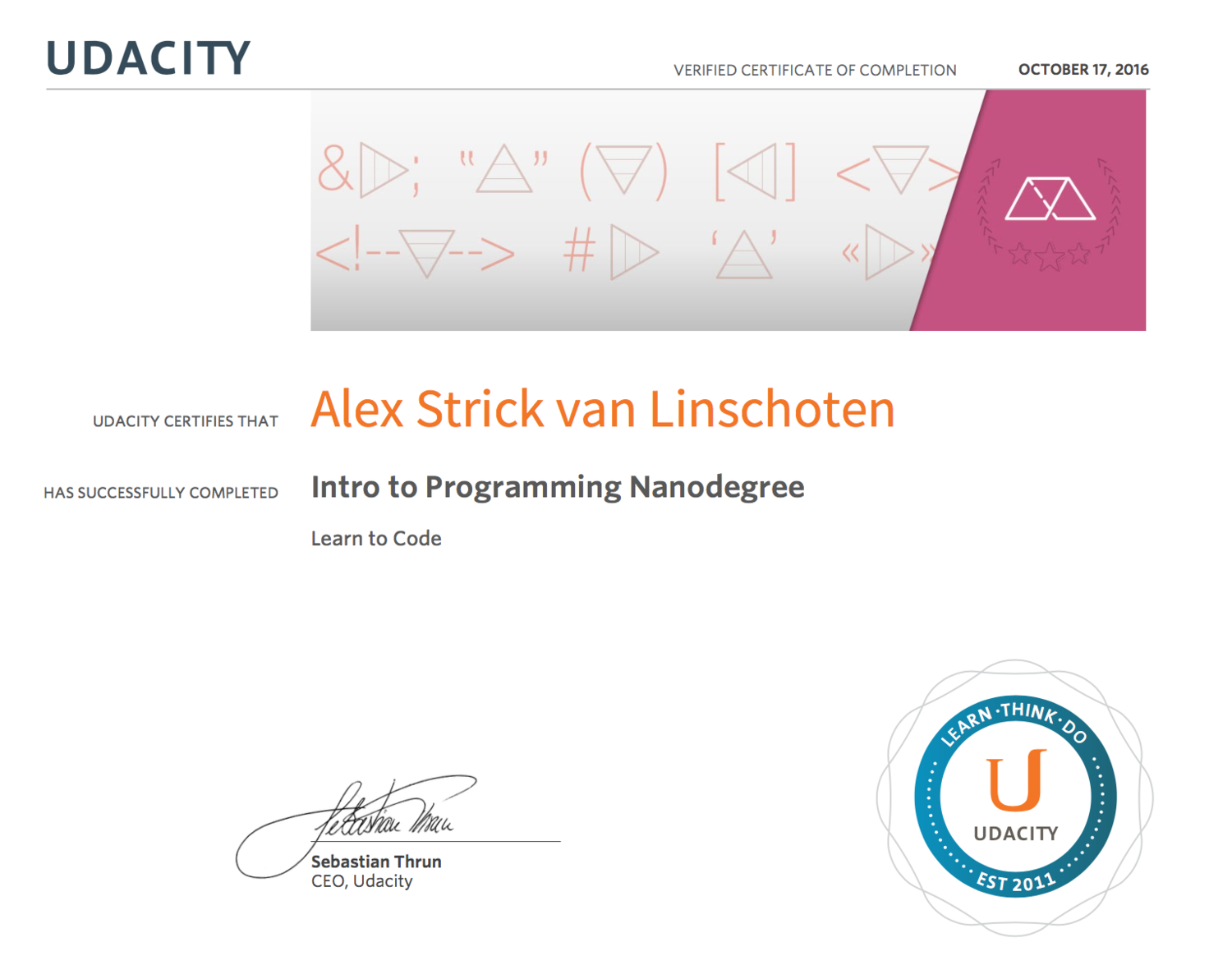On Completing Udacity's Intro to Programming Nanodegree — A