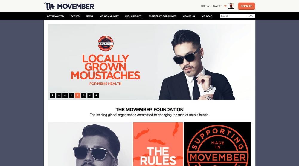 The Movember UK homepage