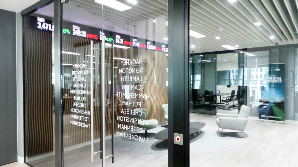 Cboe Global Markets reception area - NewFLEX4 LED