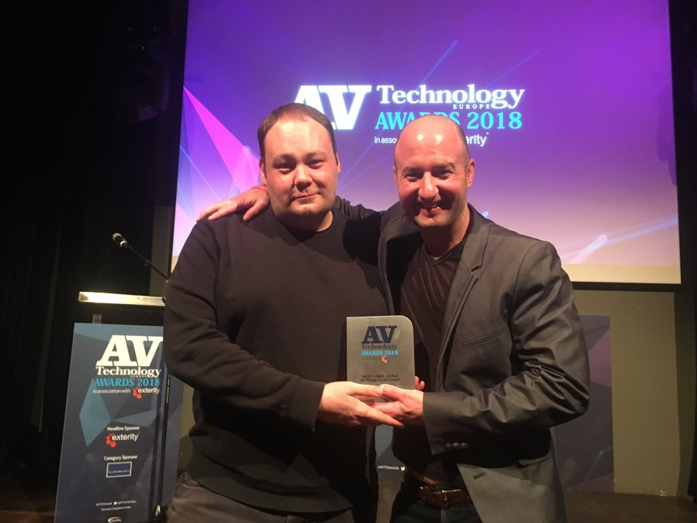 AV Technology Awards 2018 - That evening saw a 4th award picked up at the inaugural AV Technology Europe awards, for Best Large-Scale AV Project or Event
