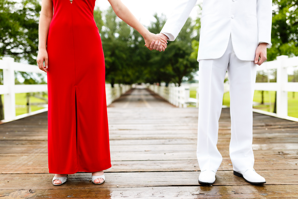 Prom Portrait on bridge at Cypress Bend Farm in Youngsville