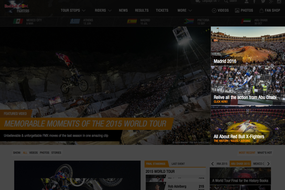 The original Homepage 'Featured Content', highlighted on the Red Bull X-Fighters website