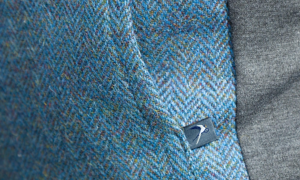 THE FUNNEL HOODY - in New Blue Herringbone