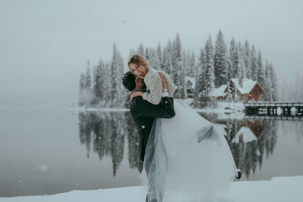 Adventurous winter elopement at Emerald Lake Lodge