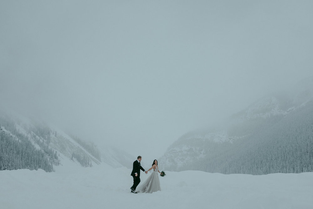 Adventurous winter elopement at Lake Louise in Banff