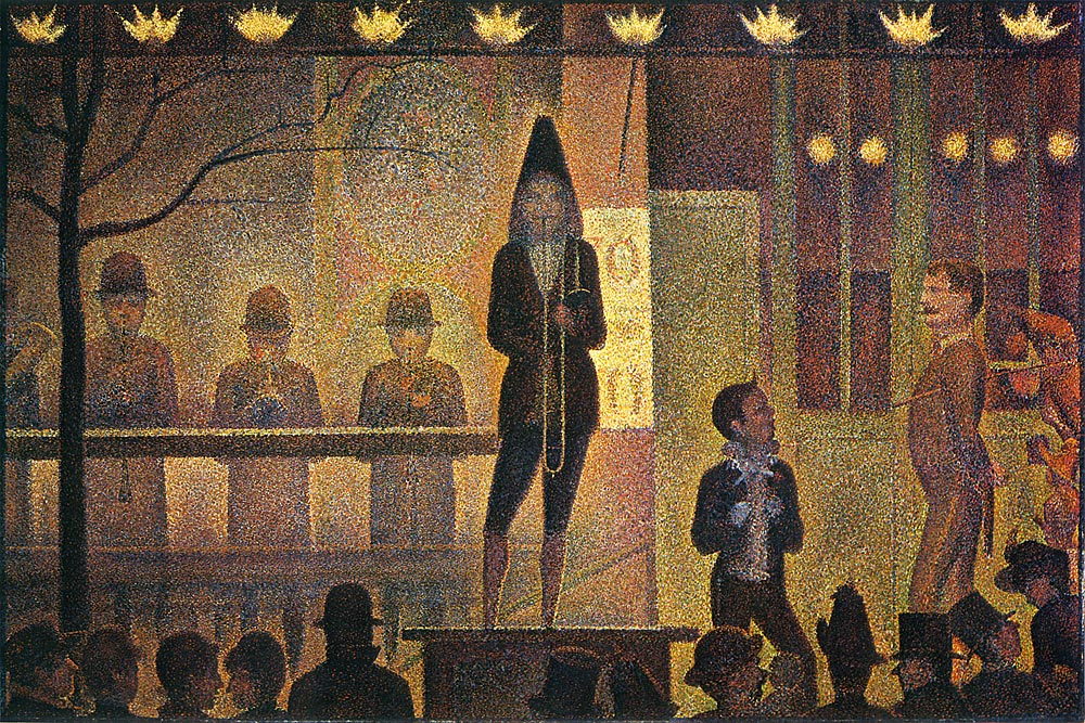 "French post-impressionist Georges Seurat originated Pointillism, a masterful version of dot-ism. His ""La Parade de Cirque"" was painted 1887–88. Image courtesy Wikimedia"