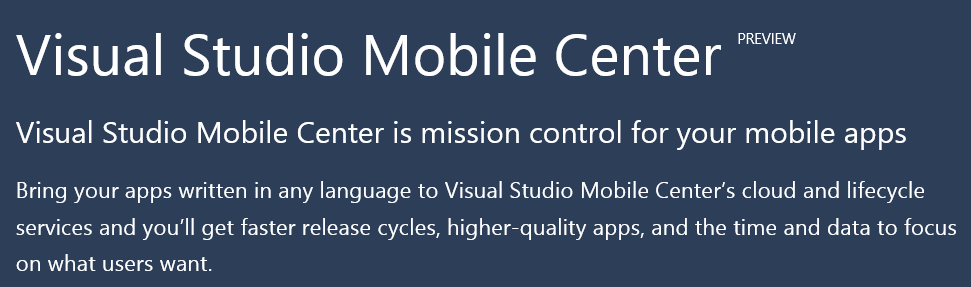 VS 2017 Mobile Center