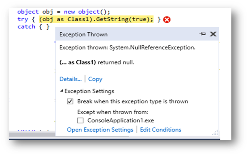 visual studio exception settings