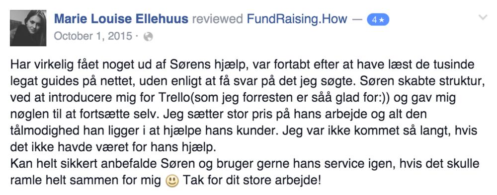 Eksempel på review fra en kunde.
