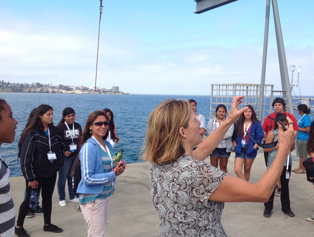 UCSD- SIO Pier w/ Cheryl Peach. Performing outreach with intertribal youth of California.