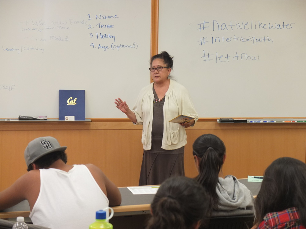 "UC Berkeley with Auntie Bridget Neconie. Chillmatic. ""You, Intertribal Youth,  can get in to berkeley. Just do it."""